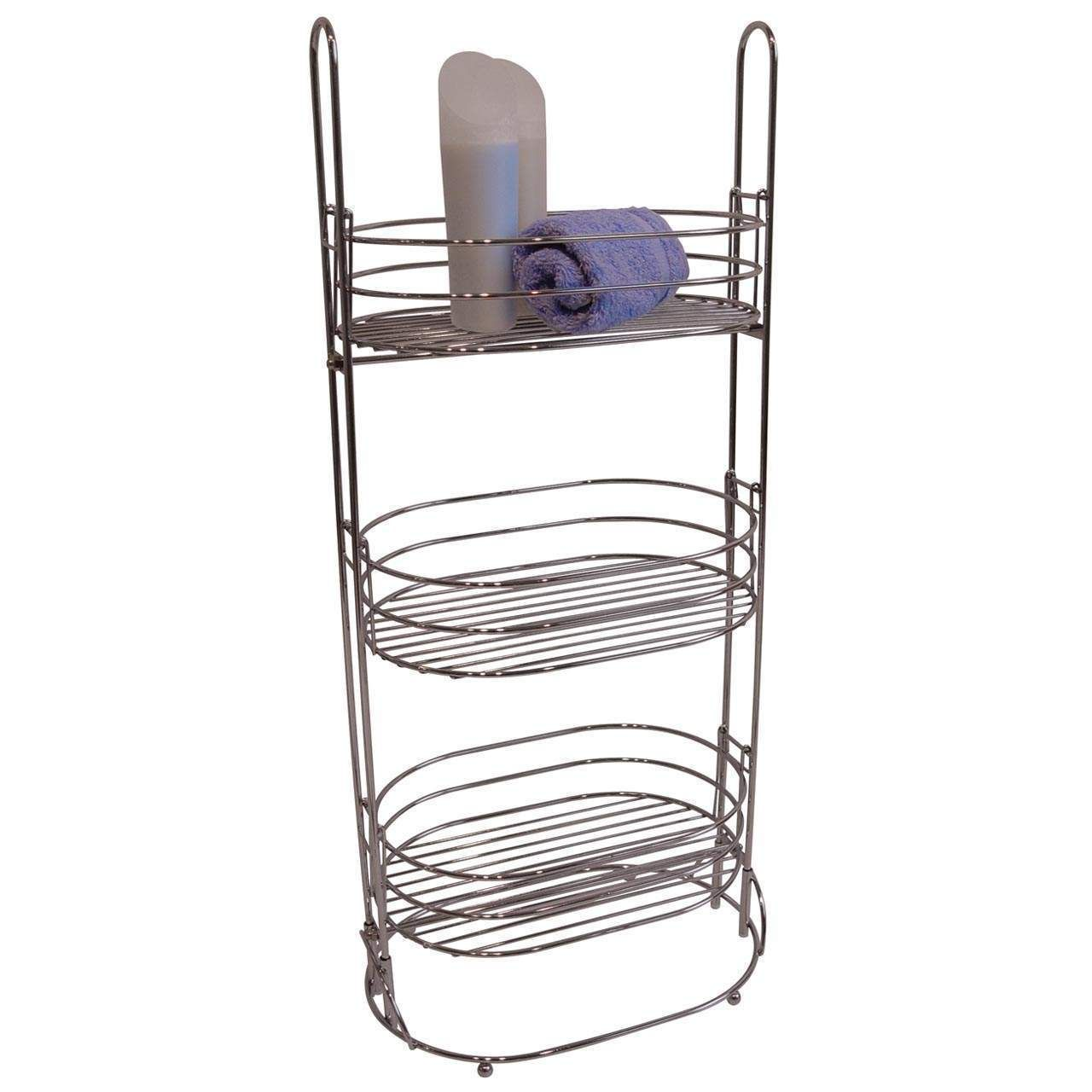 Home Furniture Accessories Chrome 3 Tier Bathroom Caddy Tidy Floor